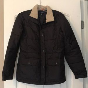 Lands End Brown Puffer Coat with Shearling Collar